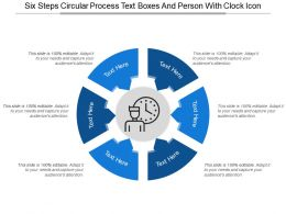 Six Steps Circular Process Text Boxes And Person With Clock Icon
