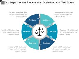 Six Steps Circular Process With Scale Icon And Text Boxes