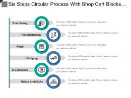 Six Steps Circular Process With Shop Cart Blocks Icon And Text Boxes