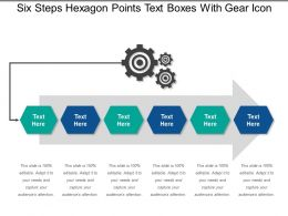 Six Steps Hexagon Points Text Boxes With Gear Icon