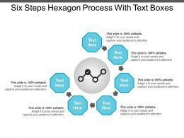 Six Steps Hexagon Process With Text Boxes