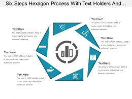Six Steps Hexagon Process With Text Holders And Bar Icon