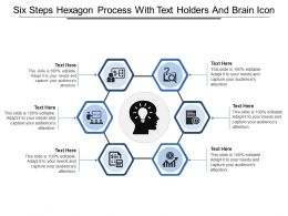 Six Steps Hexagon Process With Text Holders And Brain Icon