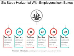 Six Steps Horizontal With Employees Icon Boxes