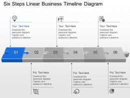 Six Steps Linear Business Timeline Diagram Powerpoint Template Slide