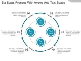 Six Steps Process With Arrows And Text Boxes