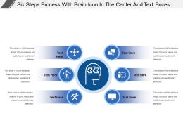 Six Steps Process With Brain Icon In The Center And Text Boxes