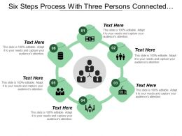 Six Steps Process With Three Persons Connected Icons And Text Boxes