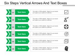 Six Steps Vertical Arrows And Text Boxes