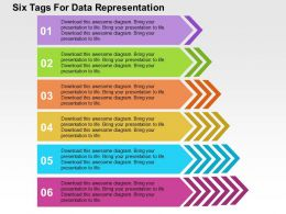 Six Tags For Data Representation Flat Powerpoint Design