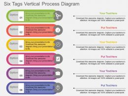 Six Tags Vertical Process Diagram Flat Powerpoint Design