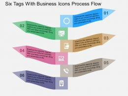 Six Tags With Business Icons Process Flow Flat Powerpoint Design