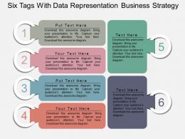 Six Tags With Data Representation Business Strategy Flat Powerpoint Design