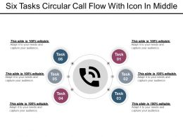 Six Tasks Circular Call Flow With Icon In Middle