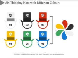 Six Thinking Hats With Different Colours