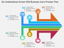 Six Unidirectional Arrows With Business Icons Process Flow Flat Powerpoint Design