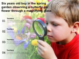 Six Years Old Boy In The Spring Garden Observing A Butterfly On Flower Through A Magnifying Glass