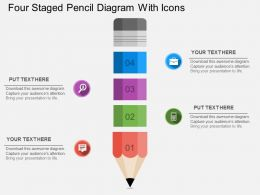 sj Four Staged Pencil Diagram With Icons Flat Powerpoint Design