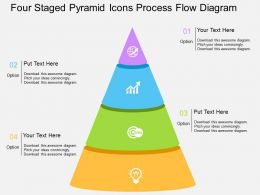 Sj Four Staged Pyramid Icons Process Flow Diagram Flat Powerpoint Design