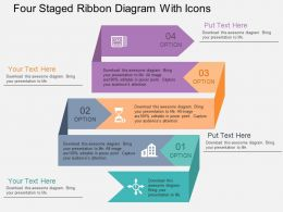 Sk Four Staged Ribbon Diagram With Icons Flat Powerpoint Design