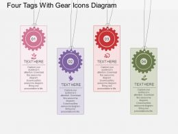 sk Four Tags With Gear Icons Diagram Flat Powerpoint Design