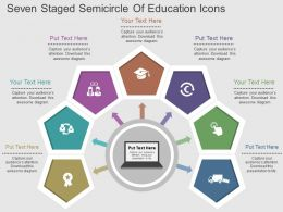 sk Seven Staged Semicircle Of Education Icons Flat Powerpoint Design
