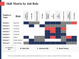 Skill Matrix By Job Role Project Management Financial Acumen