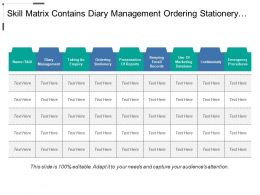 Skill Matrix Contains Diary Management Ordering Stationery And Confidentiality