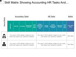 Skill Matrix Showing Accounting Hr Tasks And Safety