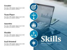 Skills Creative Team Player Assertive Flexible Goal Oriented Ppt Tips