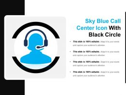 Sky Blue Call Center Icon With Black Circle