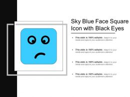 Sky Blue Face Square Icon With Black Eyes