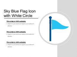 Sky Blue Flag Icon With White Circle