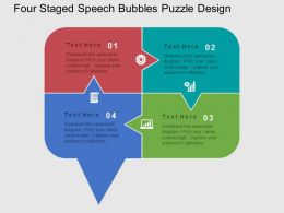 Sl Four Staged Speech Bubbles Puzzle Design Flat Powerpoint Design