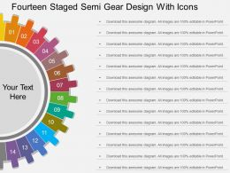sl Fourteen Staged Semi Gear Design With Icons Flat Powerpoint Design
