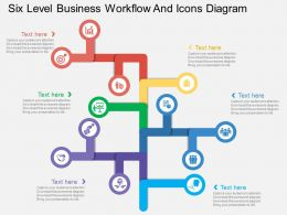 sl Six Level Business Workflow And Icons Diagram Flat Powerpoint Design
