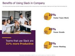 Slack Pitch Deck Benefits Of Using In Company Ppt Powerpoint Presentation Outline Example