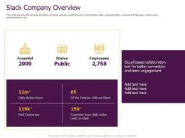 Slack Pitch Deck Company Overview Ppt Powerpoint Presentation Professional Outfit