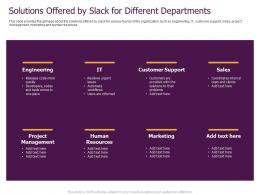 Slack Pitch Deck Solutions Offered By Slack For Different Departments Ppt Powerpoint Presentation Model