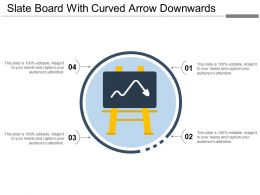 Slate Board With Curved Arrow Downwards