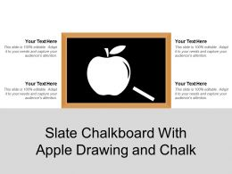 Slate Chalkboard With Apple Drawing And Chalk