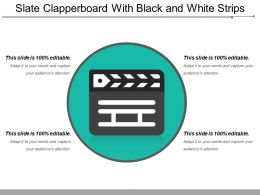 Slate Clapperboard With Black And White Strips