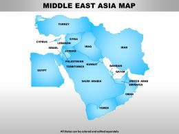 Middle East Asia Continents PowerPoint maps