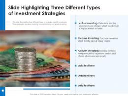 Slide Highlighting Three Different Types Of Investment Strategies
