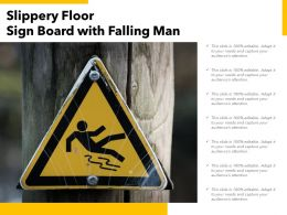 Slippery Floor Sign Board With Falling Man