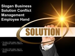 Slogan Business Solution Conflict Management Employee Hand