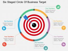 sm Six Staged Circle Of Business Target Flat Powerpoint Design