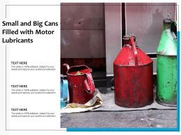 Small And Big Cans Filled With Motor Lubricants