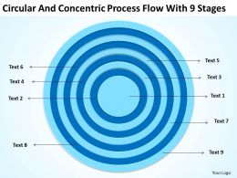 Small Business Network Diagram Circular And Concentric Process Flow With 9 Stages Powerpoint Slides