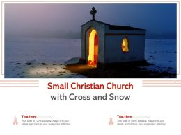 Small Christian Church With Cross And Snow